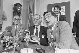 Fred Korematsu, Minoru Yasui, and Gordon Hirabayashi at a press conference about the Asian American Civil Rights Movement