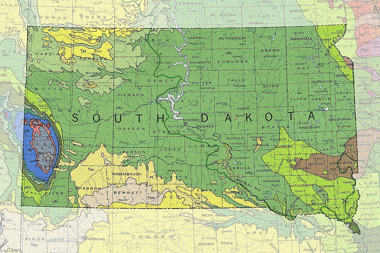 A Map of South Dakota's rocks