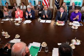 President Obama holding a meeting of his cabinet secretaries