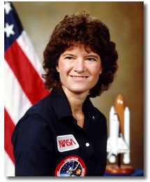 A picture of astronaut Sally Ride, the first American woman in space.