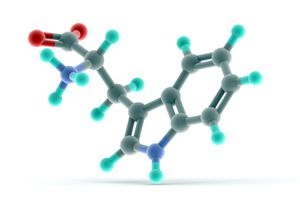 The molecular structure of the amino acid tryptophan rendered on a white background