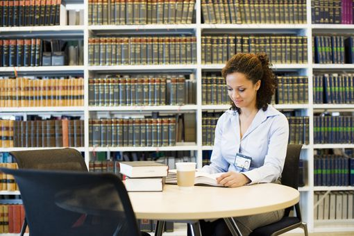 Law student in a library