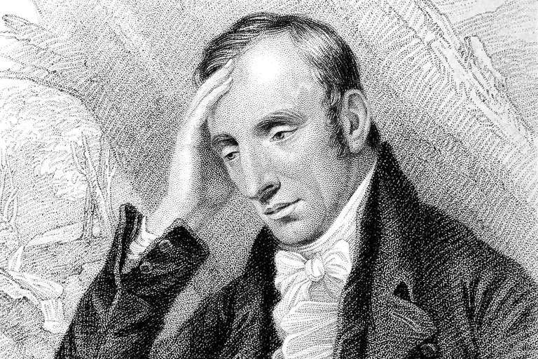 The English romantic poet Wordsworth touches his hand to his forehead