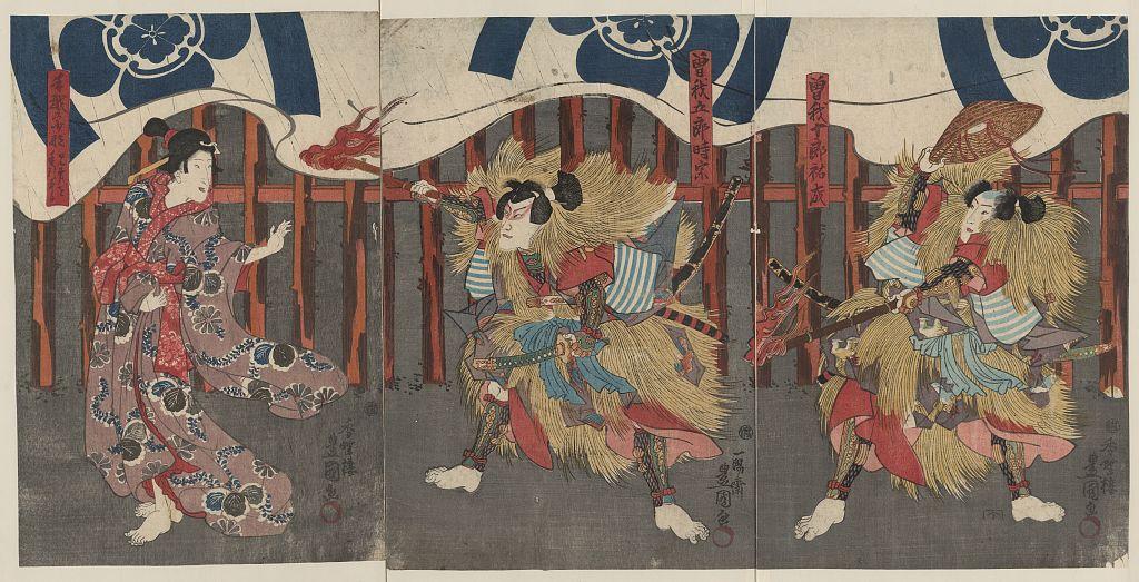 KabukiTriptychSogaBrosWomanbyUtagawaToyokuni1844_48LOC.jpg