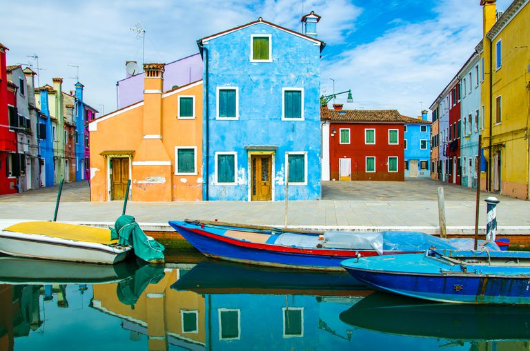 Colorful small island of Burano in the Venetian Lagoon