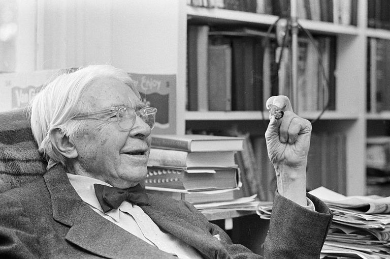 Carl Sandburg Seated Smiling with Cigar