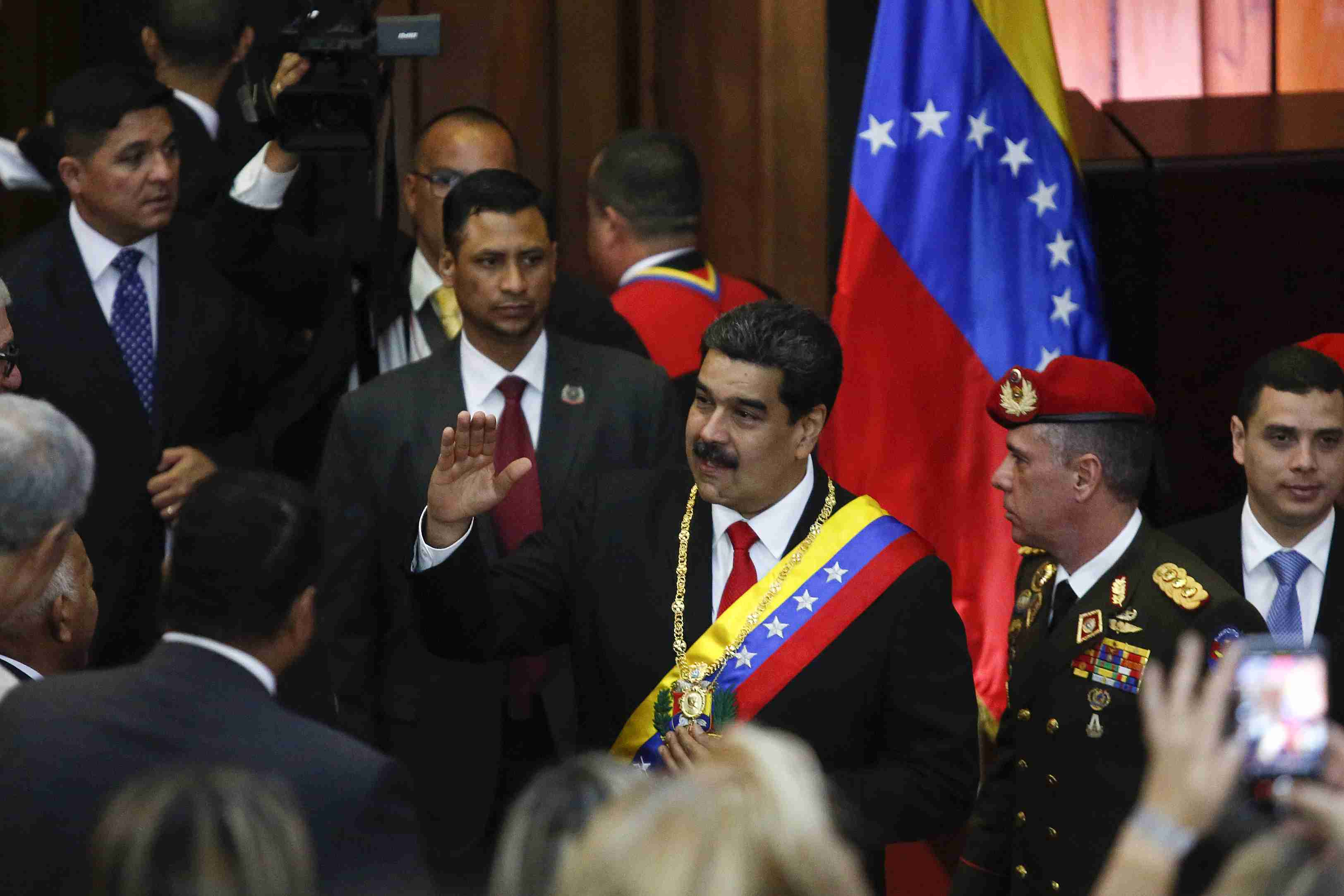 President of Venezuela Nicolás Maduro greets attendants