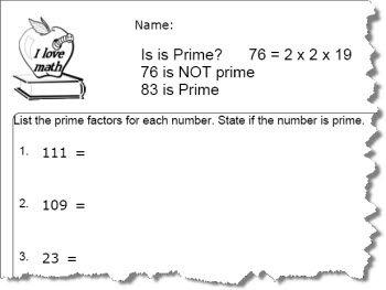 Prime Number Worksheet 4