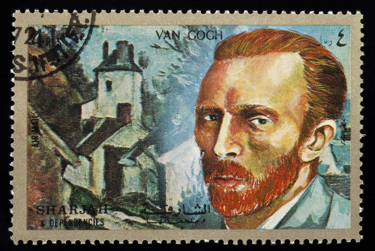 a postage stamp featuring Vincent Van Gogh