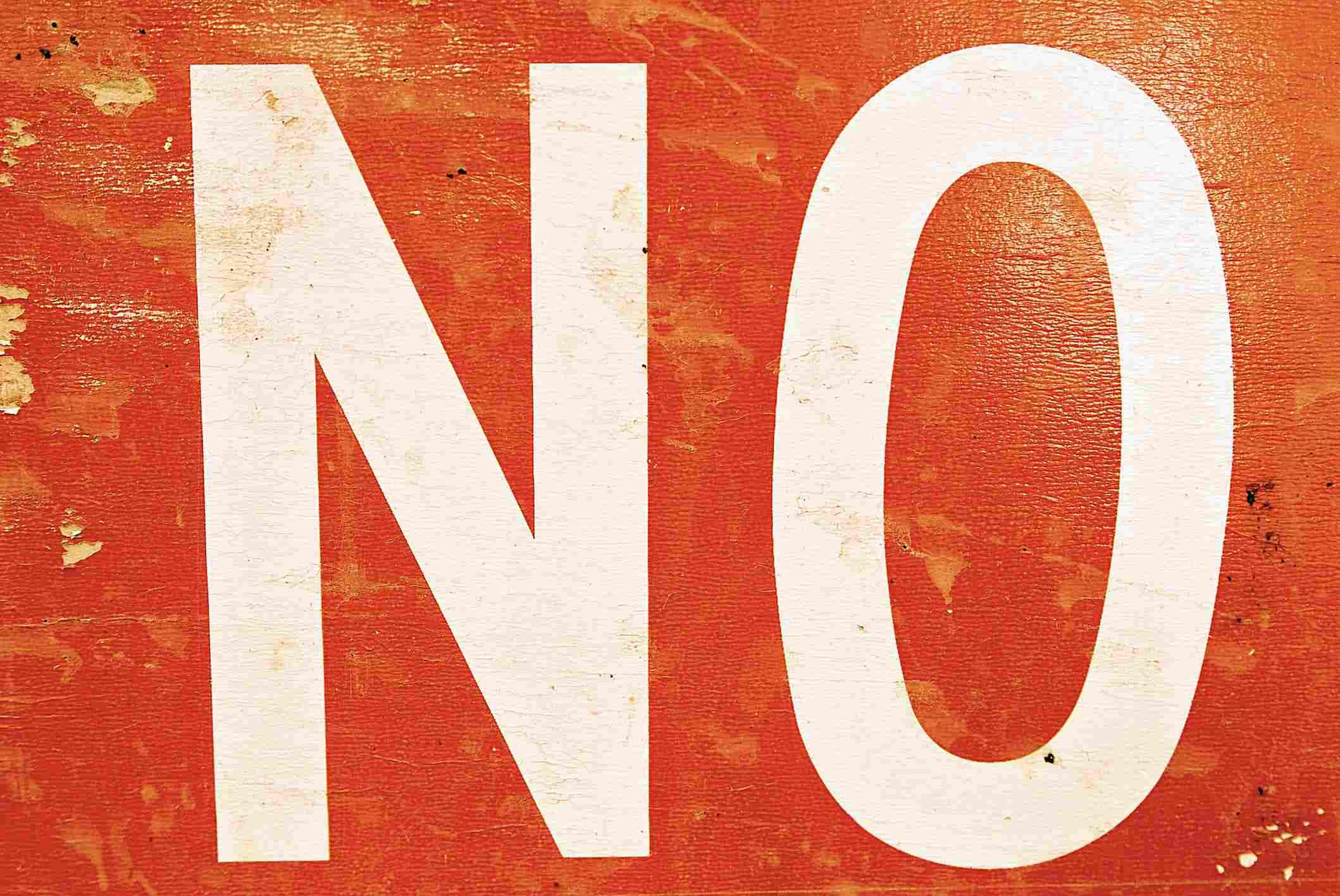"""Letrero con la palabra """"no"""""""