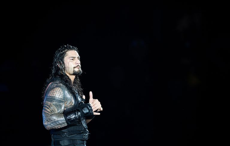 Roman Reigns reacts during to the WWE Live Duesseldorf event at ISS Dome on February 22, 2017 in Duesseldorf, Germany.