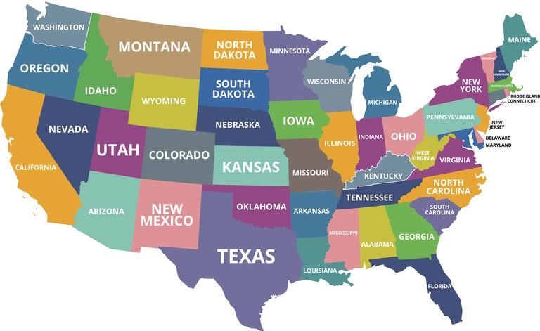 Map Of States In The Usa.What Are The Smallest States In The U S