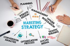marketing strategy graphic on desk with people working