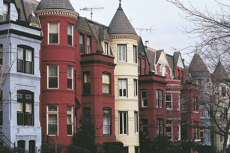 Queen Anne Style Row Houses With Turrets In Georgetown Washington DC