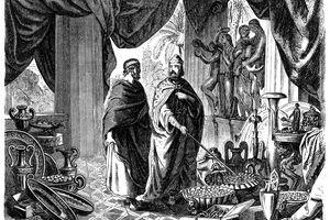 Croesus shows Solon his treasures