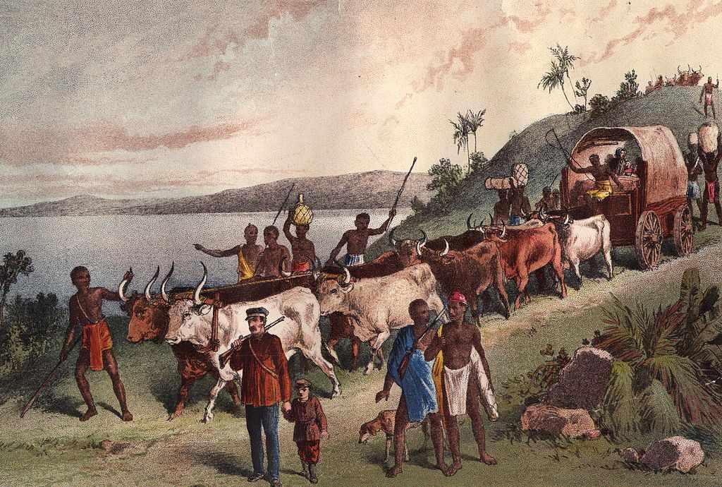 circa 1855: The arrival of British explorer, David Livingstone and party at Lake Ngami.