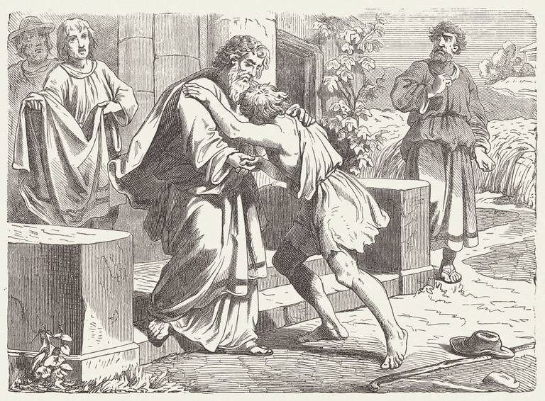 1877 The Prodigal Son wood engraving depicting reunited father and son hugging.