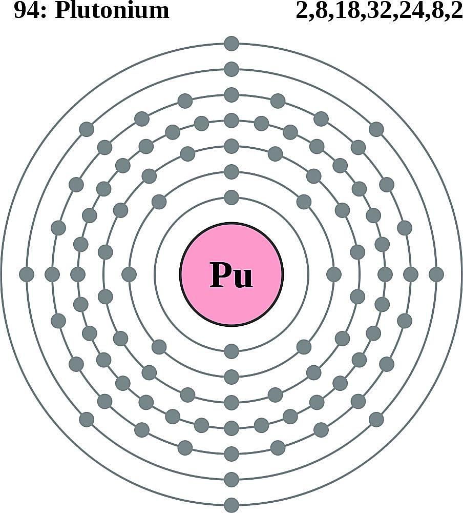 This diagram of a plutonium atom shows the electron shell.
