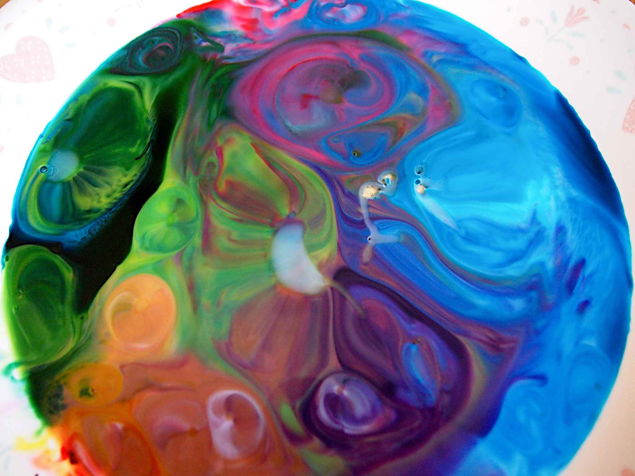 Milk, food coloring, and soap