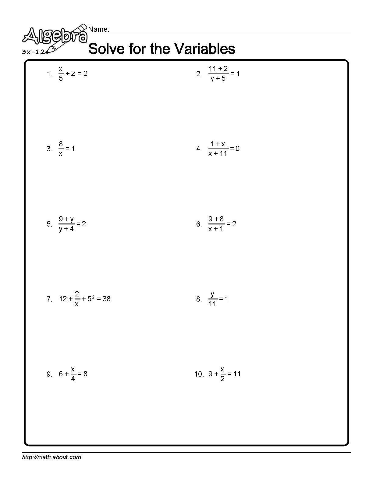 Worksheets Solving For A Variable Worksheet solve for the variables worksheet 1 of 10