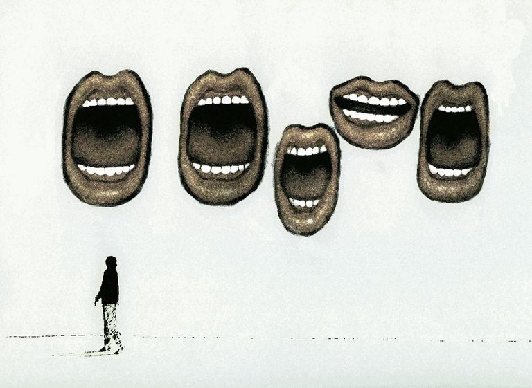 Large open mouths talking above woman