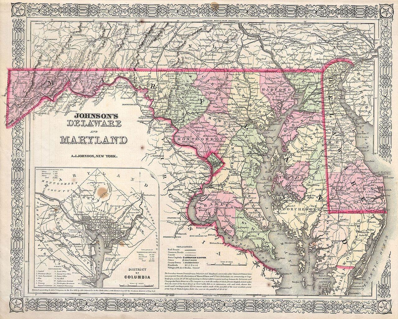 Map indicating the Mason Dixon line.