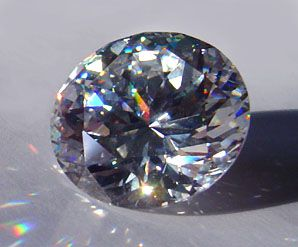 Cubic zirconia or CZ is a diamond simulant made from zirconium oxide.
