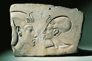 Bas-relief portraying Amenhotep IV (Pharaoh Akhenaten, circa 1360-1342) and Nefertiti