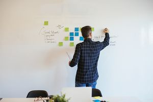 man writes on whiteboard and sticky notes