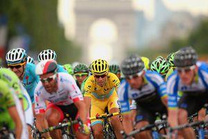 A group of bikers at the Tour de France.