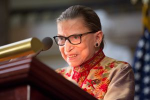 Associate Justice Ruth Bader Ginsburg speaking at a Women's History Month reception in the U.S. capitol building