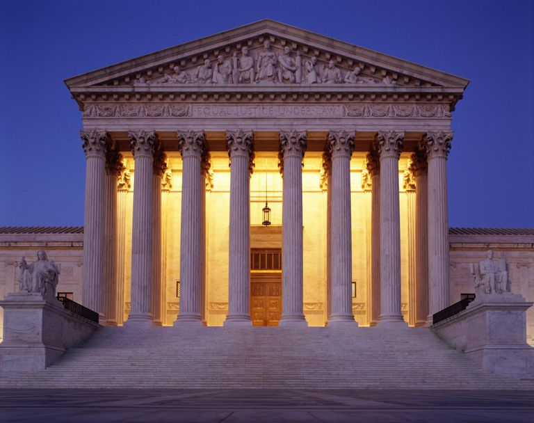 USA, Washington, D.C., US Supreme Court building at dusk