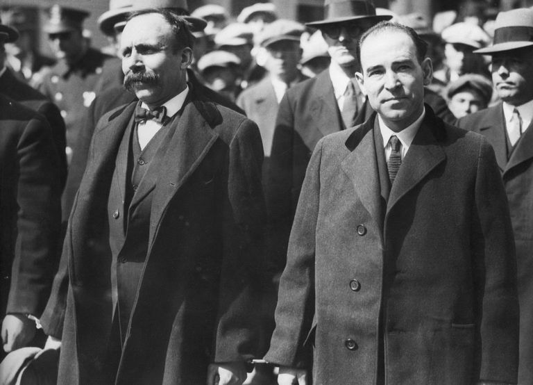 Black and white photograph of Sacco and Vanzetti.