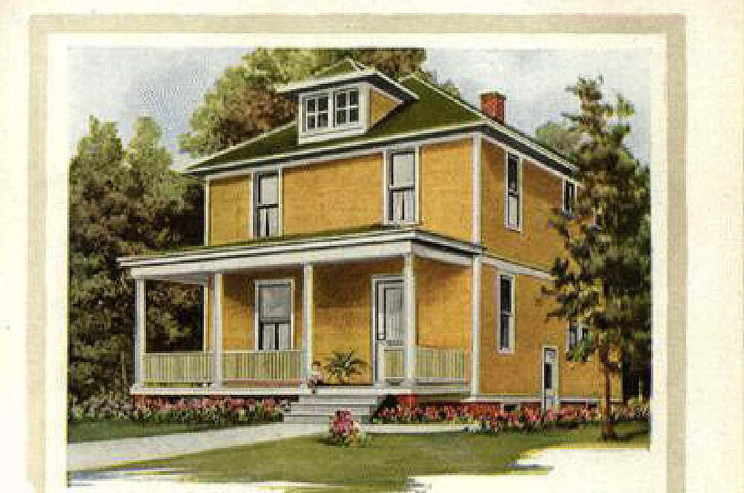 Colored illustration of a mail order house, painted yellow, front porch and pyramid roof, front dormer, square two story