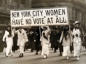 Suffragettes march in New York City