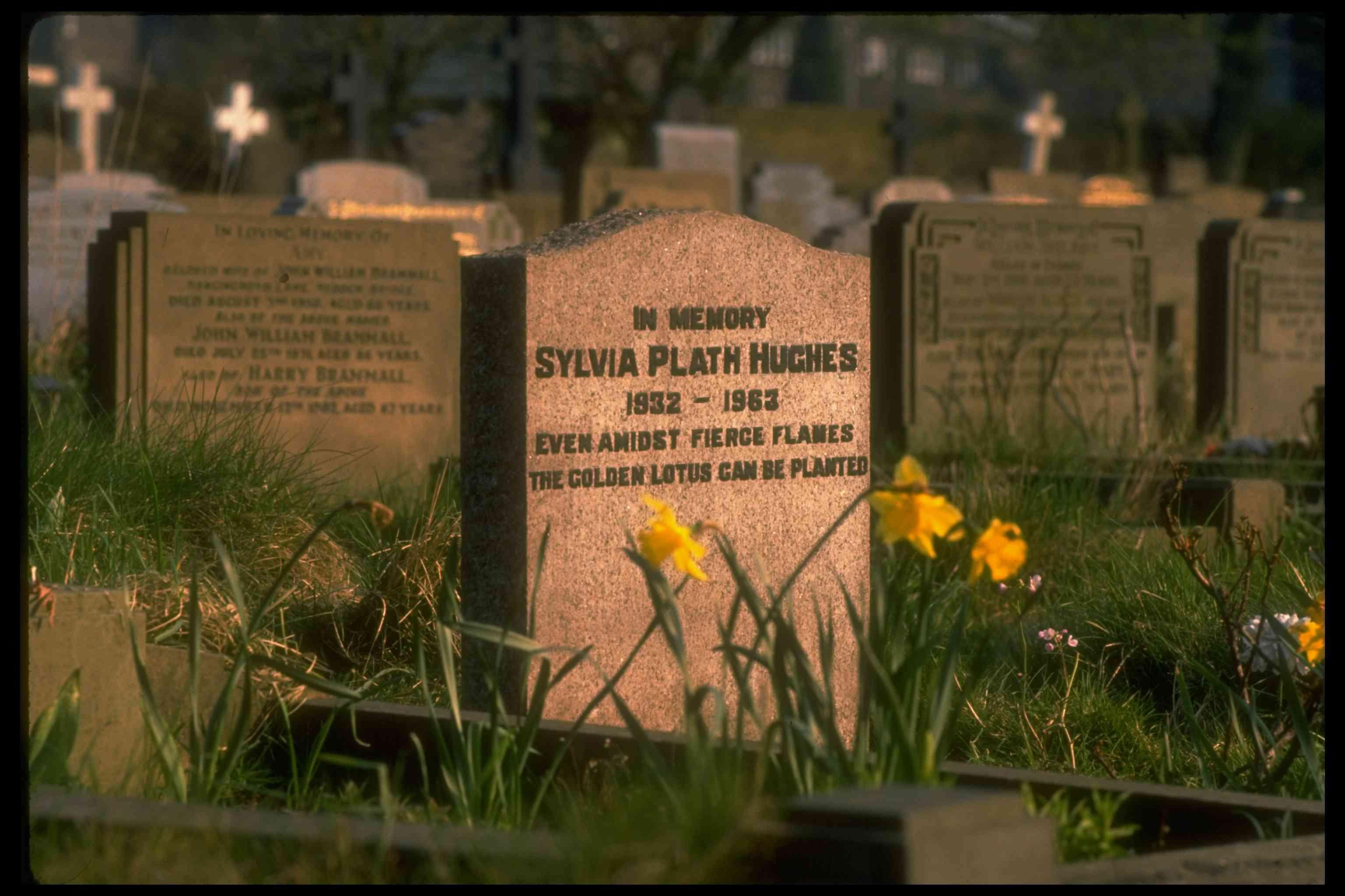 Sylvia Plath's gravestone with inscription