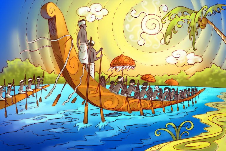 Illustration of boats the Onam Festival