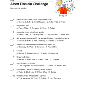 Albert Einstein Word Search, Crossword Puzzles and More