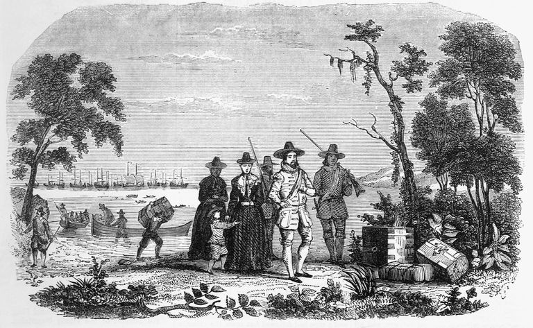 Illustration of John Winthrop Landing in Massachusetts