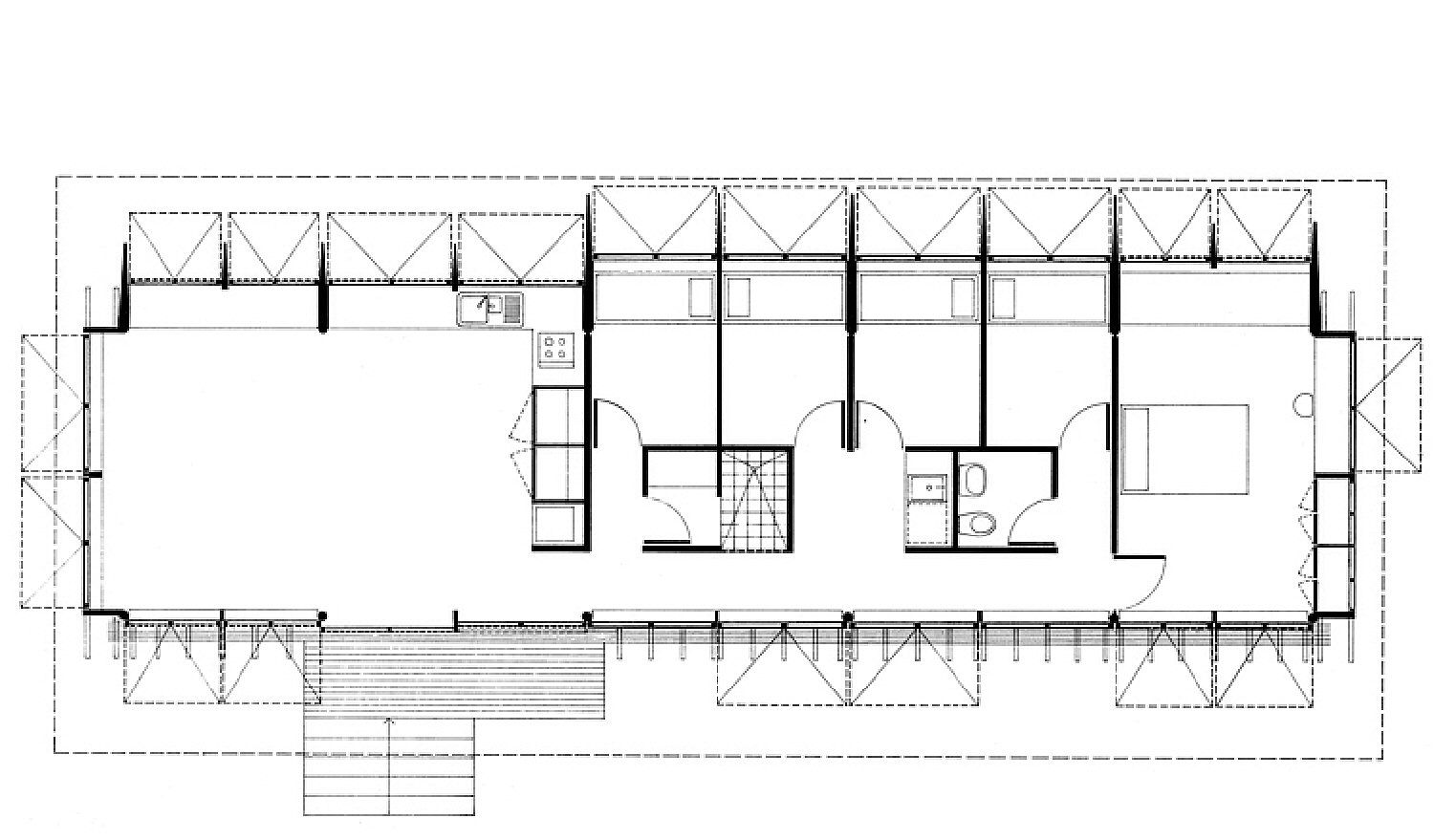 floor plan, horizontal orientation, rectangular, large space on left takes up about 1/3 of total floor space with 5 smaller rooms off a hallways making up the rest