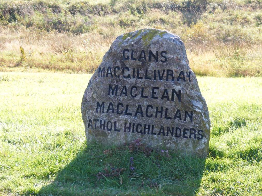 This stone marks the mass grave for those killed in the battle from Clans MacGillivray, MacLean, and MacLachlan as well as those from the Athol Highlanders.