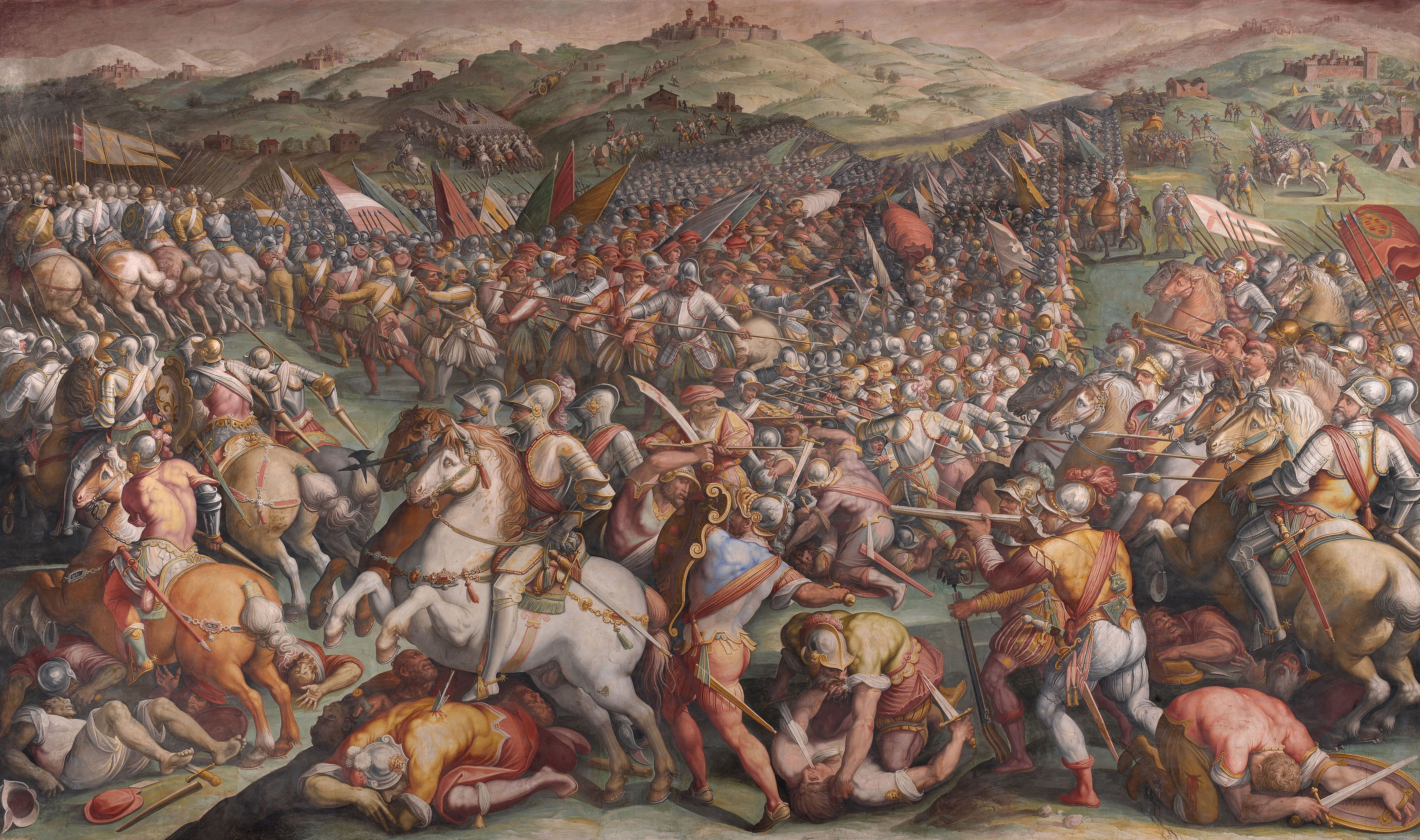 The Battle of Marciano in Val di Chiana, 1570-1571. Found in the collection of the Palazzo Vecchio, Florence.