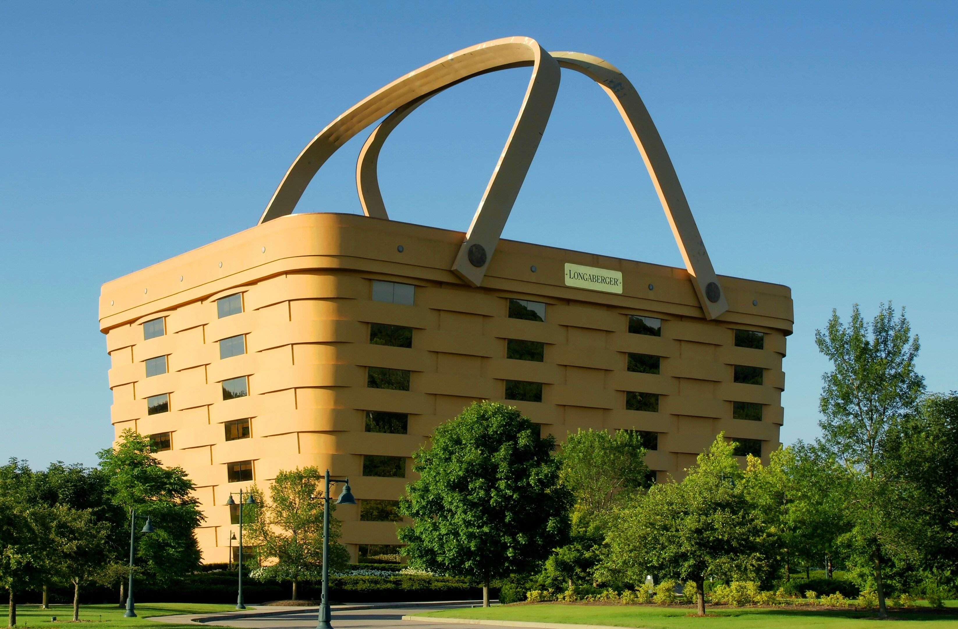Office building for Longaberger Company, shaped like a wooden basket
