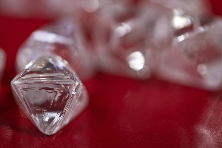 Rough diamonds from the EKATI Diamond Mine in Canada.