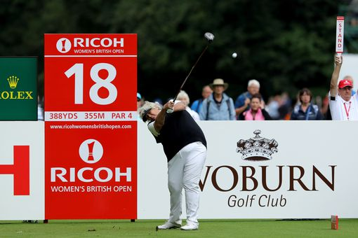 Laura Davies tees off in the Women's British Open, a tournament on the Ladies European Tour.