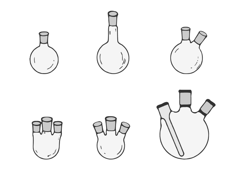 This is an image of several round-bottomed flasks.