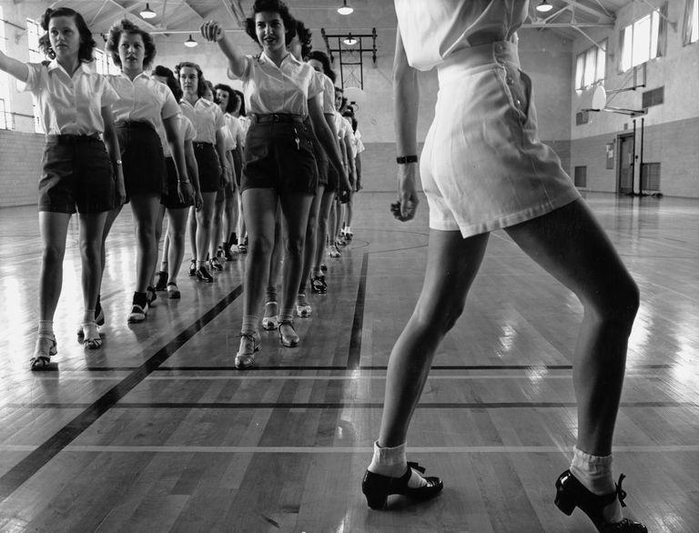 Women's Tap dancing class at Iowa State College, 1942.
