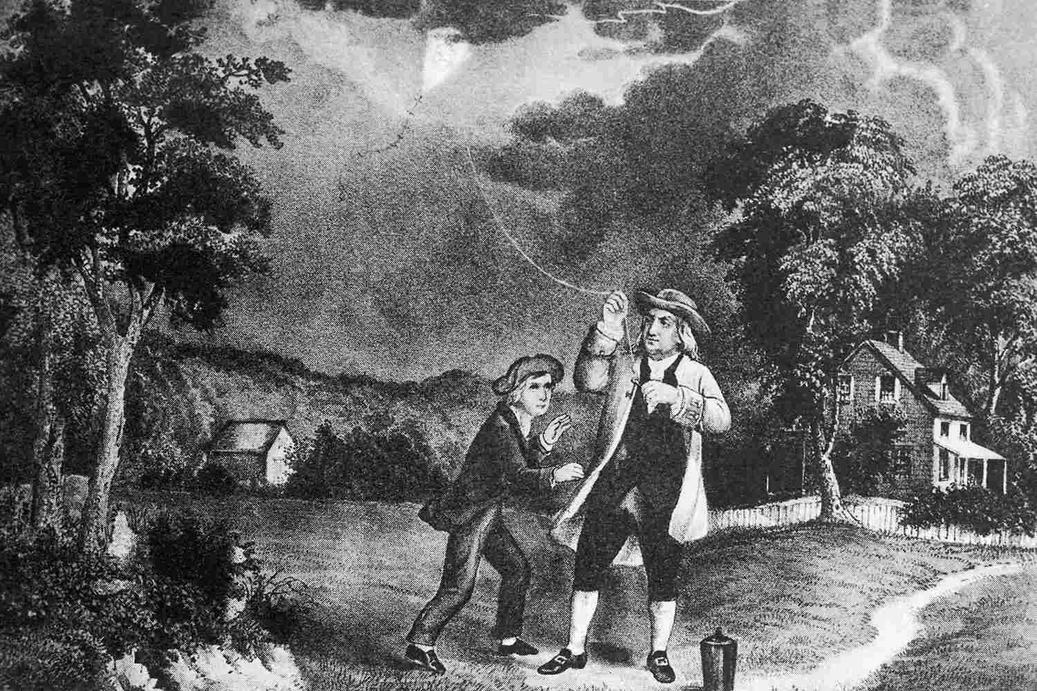 Pencil sketch Benjamin Franklin flying a kite during a storm.