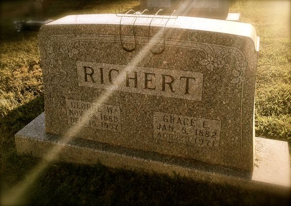 Richert gravestone, Saint Peter's Lutheran Church, Corydon, IN. (Photo © Scott P. Richert)
