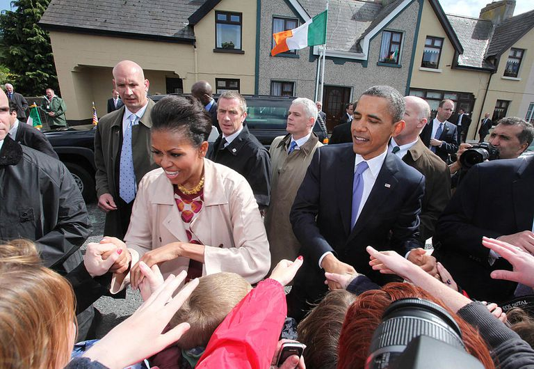 U.S. President Barack Obama and First Lady Michelle Obama greet the locals in Ireland